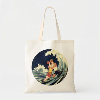 Vintage Art Deco Lovers Kiss in the Waves at Beach Tote Bag