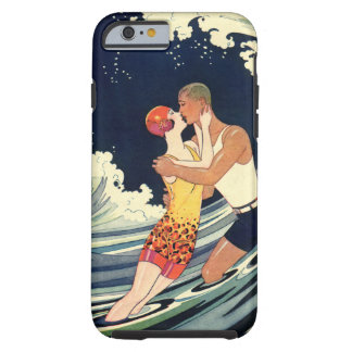 Vintage Art Deco Lovers Kiss in the Waves at Beach Tough iPhone 6 Case