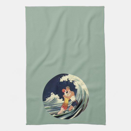 Vintage Art Deco Lovers Kiss in the Waves at Beach Towel