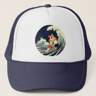Vintage Art Deco Lovers Kiss in the Waves at Beach Trucker Hat