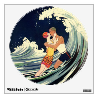 Vintage Art Deco Lovers Kiss in the Waves at Beach Wall Sticker