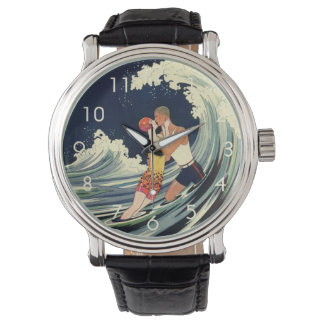 Vintage Art Deco Lovers Kiss in the Waves at Beach Wristwatch