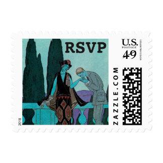 Vintage Art Deco Lovers, RSVP Postage Stamps