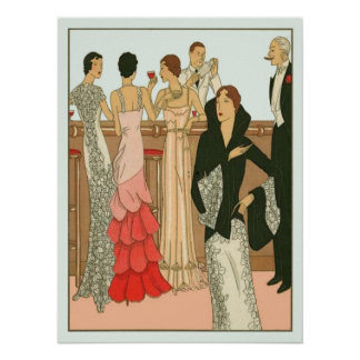 Vintage Art Deco Martini Party Poster