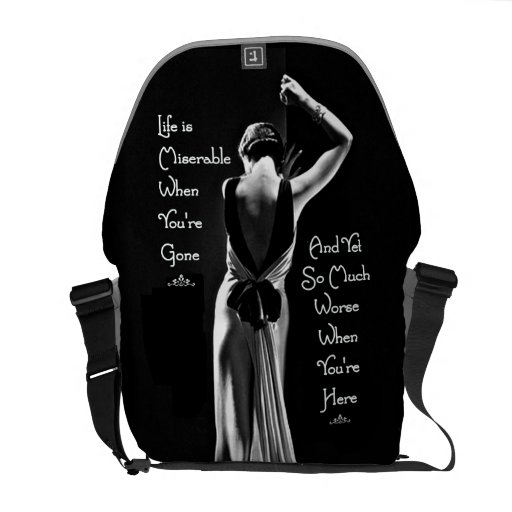 Vintage Art Deco Miserable When You're Gone Funny Courier Bags