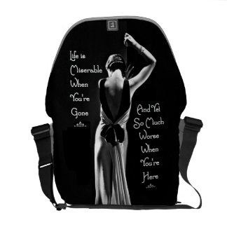 Vintage Art Deco Miserable When You're Gone Funny Messenger Bags