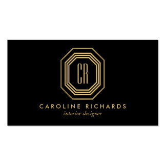 Vintage Art Deco Monogram Gold/Black Business Card