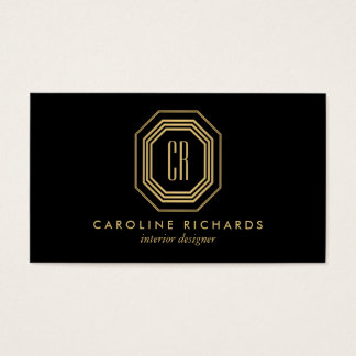 Vintage Art Deco Monogram Gold/Black Business Card