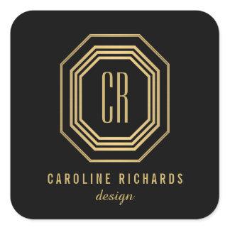 Vintage Art Deco Monogram Gold/Black Square Sticker