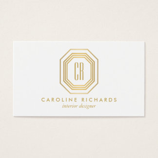 Vintage Art Deco Monogram Gold/White Business Card