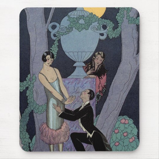 Vintage Art Deco Moonlight Love Triangle Mouse Pad