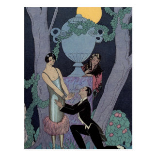 Vintage Art Deco Moonlight Love Triangle Post Card