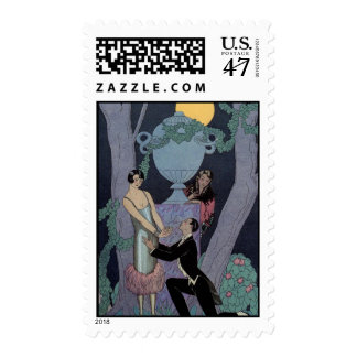 Vintage Art Deco Moonlight Love Triangle Stamps