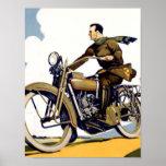 Vintage Art Deco Motorbyke Print