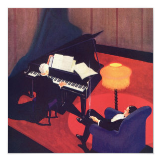 Vintage Art Deco Music Lounge Piano Player Pianist Card