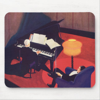 Vintage Art Deco Music Lounge Piano Player Pianist Mouse Pad