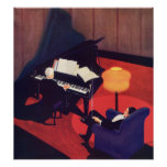 Vintage Art Deco Music Lounge Piano Player Pianist Poster