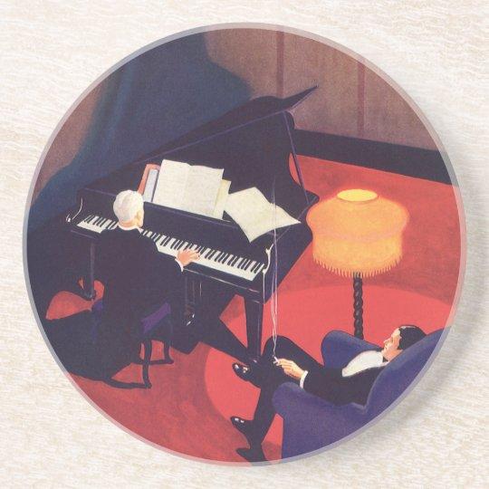 Vintage Art Deco Music Lounge Piano Player Pianist Sandstone Coaster