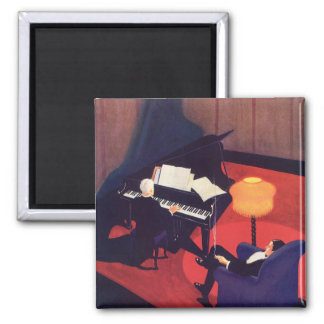 Vintage Art Deco Music Pianist Piano Player Lounge 2 Inch Square Magnet
