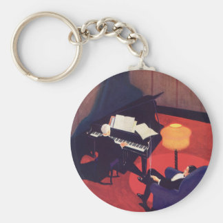 Vintage Art Deco Music Pianist Piano Player Lounge Basic Round Button Keychain