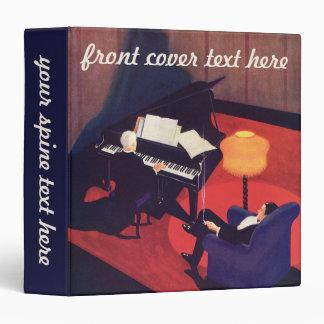 Vintage Art Deco Music Pianist Piano Player Lounge Vinyl Binder