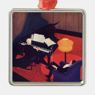 Vintage Art Deco Music Pianist Piano Player Lounge Metal Ornament
