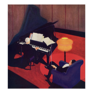 Vintage Art Deco Music Pianist Piano Player Lounge Poster