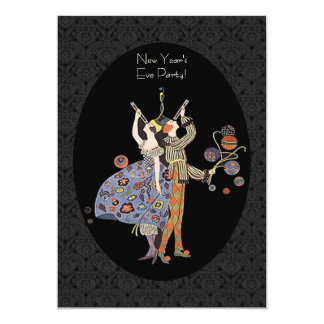 """Vintage Art Deco New Year's Eve Party 5"""" X 7"""" Invitation Card"""