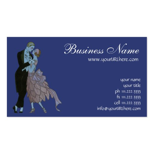 Vintage art deco newlyweds love wedding dance double for Dance business cards
