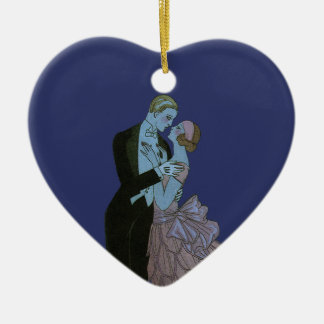 Vintage Art Deco Newlyweds, Love Wedding Dance Ceramic Ornament