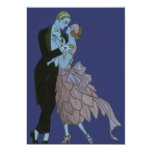 Vintage Art Deco, Newlyweds Love Wedding Dance Custom Invitations