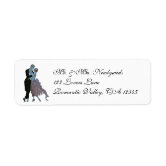 Vintage Art Deco, Newlyweds Love Wedding Dance Custom Return Address Label