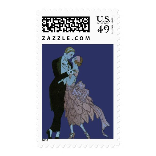 Vintage Art Deco, Newlyweds Love Wedding Dance Postage