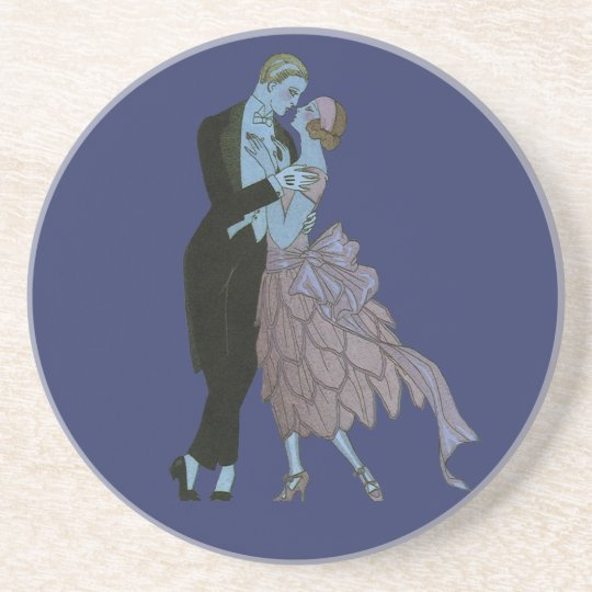 Vintage Art Deco Newlyweds, Love Wedding Dance Sandstone Coaster