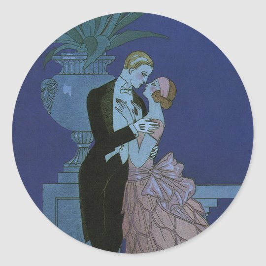 Vintage Art Deco Newlyweds, Oui by George Barbier Classic Round Sticker