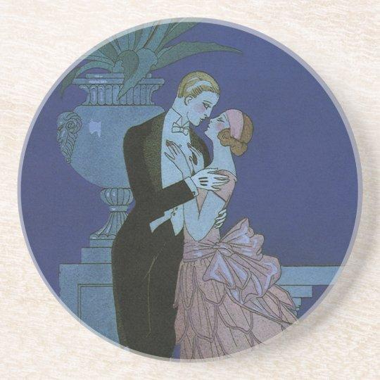 Vintage Art Deco Newlyweds, Oui by George Barbier Drink Coaster