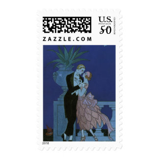 Vintage Art Deco Newlyweds, Oui by George Barbier Postage