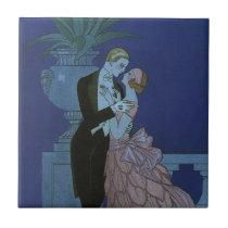 Vintage Art Deco Newlyweds, Oui by George Barbier Tile