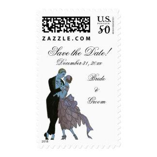 Vintage Art Deco Newlyweds, Wedding Save the Date Postage