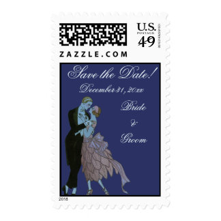 Vintage Art Deco Newlyweds, Wedding Save the Date Postage