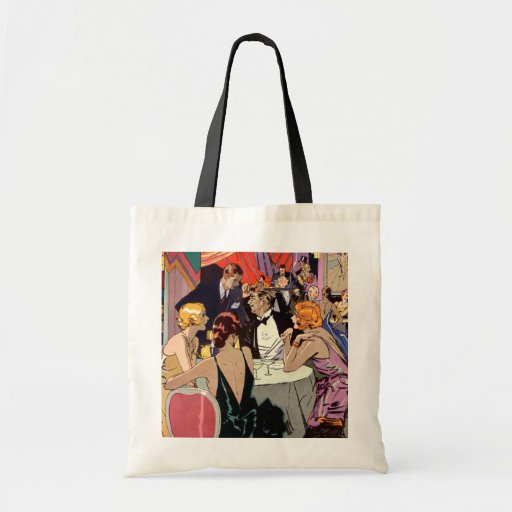 Vintage Art Deco Nightclub Cocktail Party Canvas Bags