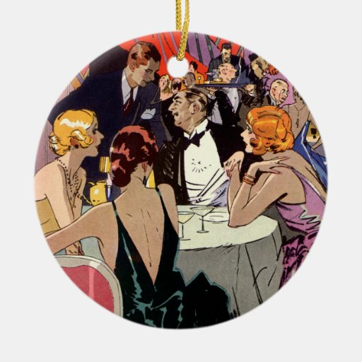 Vintage Art Deco Nightclub Cocktail Party Ceramic Ornament