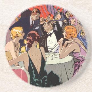 Vintage Art Deco Nightclub Cocktail Party Drink Coasters