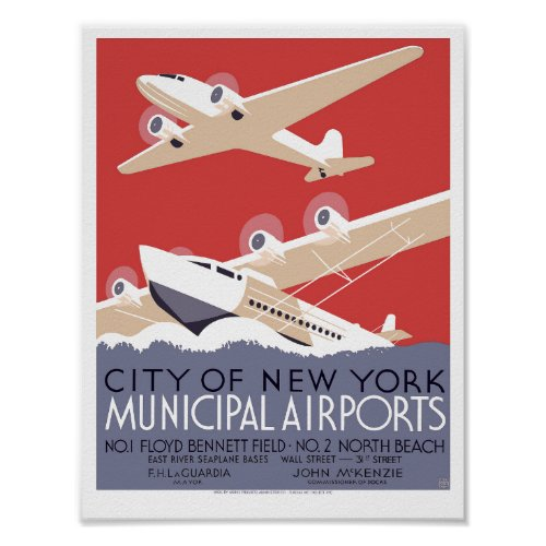 Vintage Art Deco NYC municipal airport WPA