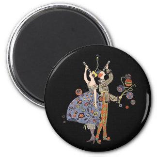 Vintage Art Deco Party Celebration 2 Inch Round Magnet