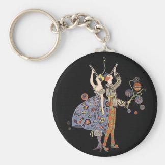 Vintage Art Deco Party Celebration Basic Round Button Keychain
