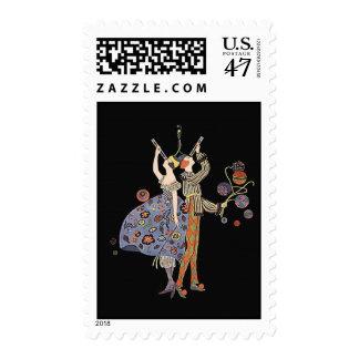 Vintage Art Deco Party Celebration Postage Stamp