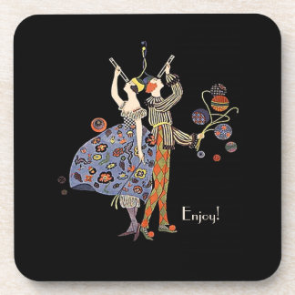 Vintage  Art Deco Party Couple Personalized Custom Coaster
