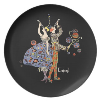 Vintage  Art Deco Party Couple Personalized Custom Dinner Plates