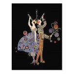 Vintage Art Deco Party Goers Celebration Postcard